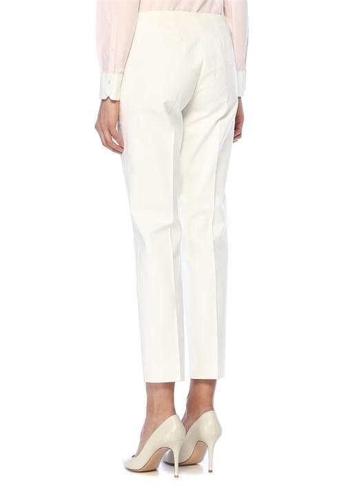 Natalie Fit Beyaz Normal Bel Boru Paça Pantolon