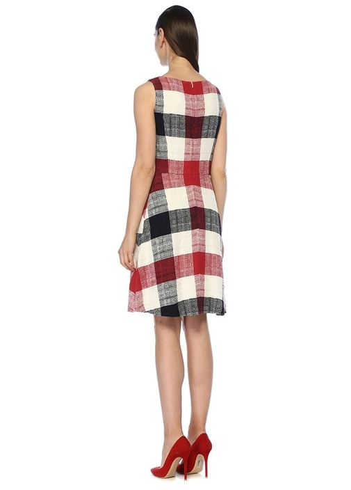 Kırmızı Ekoseli Cepli Kolsuz Mini Elbise