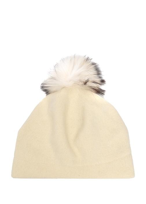 Beyaz Peluş Ponpon Detaylı Kadın Bere