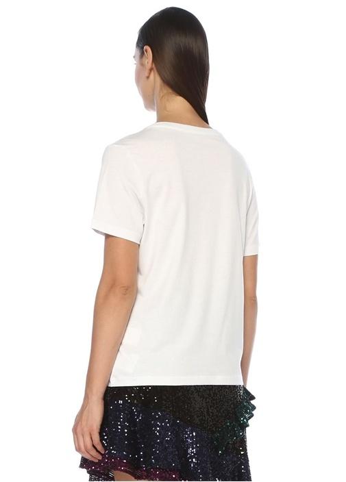 Beyaz Önü Baskılı Taşlı T-shirt