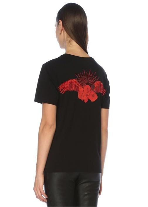 Siyah Kanatlı Gül Baskılı Basic T-shirt