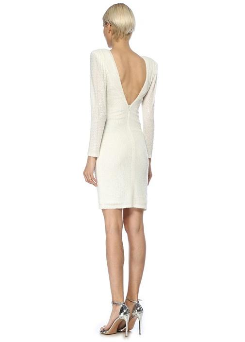 Dubai Beyaz İşlemeli Sırt Dekolteli Mini Elbise