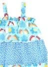 Mavi Karışık Baskılı Kız Çocuk Elbise