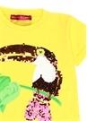 Sarı Tukan Kuşu İşlemeli Kız Çocuk Elbise