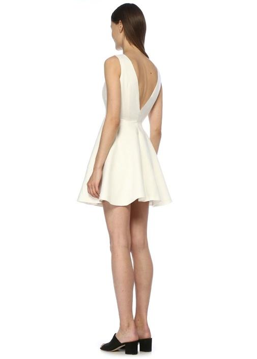 Ekru Derin V Yaka Kat Detaylı Mini Keten Elbise