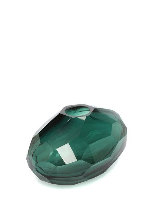 Hadid Yeşil Oval Formlu Cam Vazo
