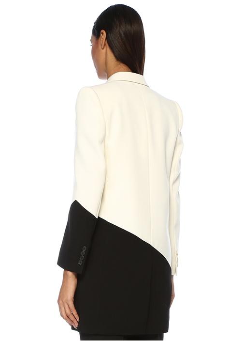 Siyah Beyaz Kırlangıç Yaka Tek Düğmeli Yün Ceket