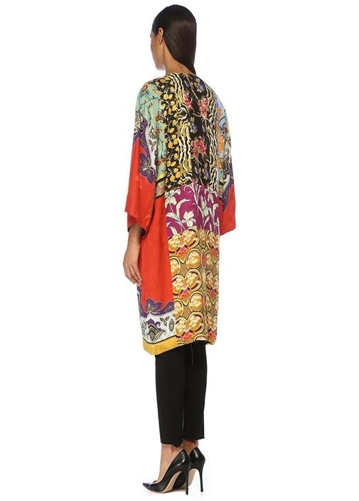 Etnik Desenli Kimono Formlu İpek Ceket