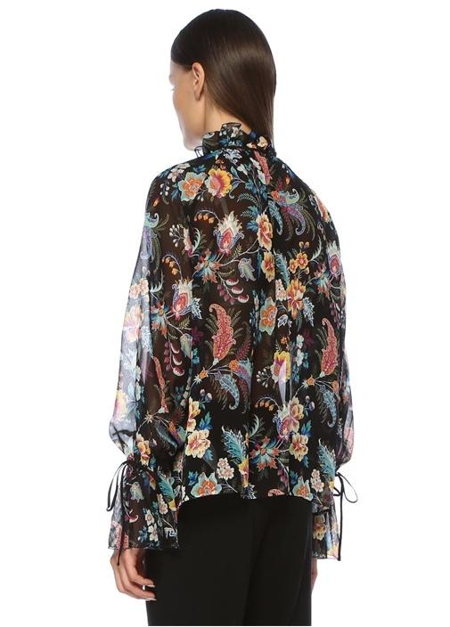Siyah Çiçekli Bağcık Detaylı İpek ŞifonGömlek