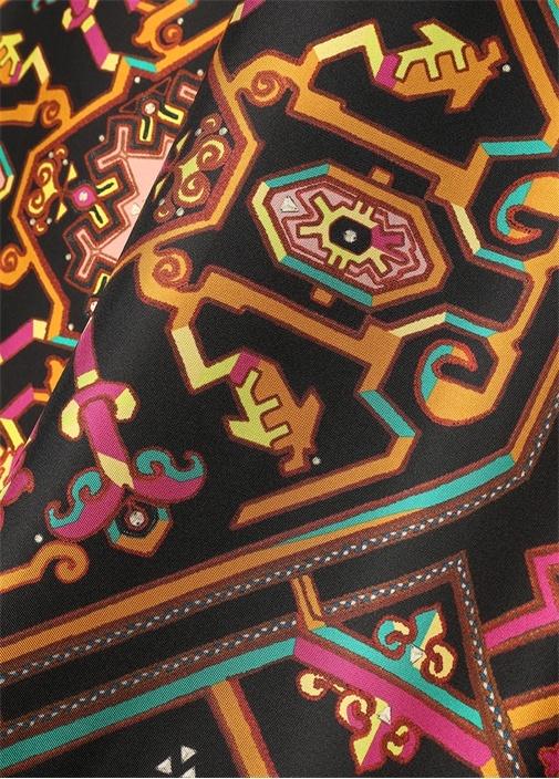 Colorblocked Püsküllü 90x90 cm Kadın İpek Eşarp