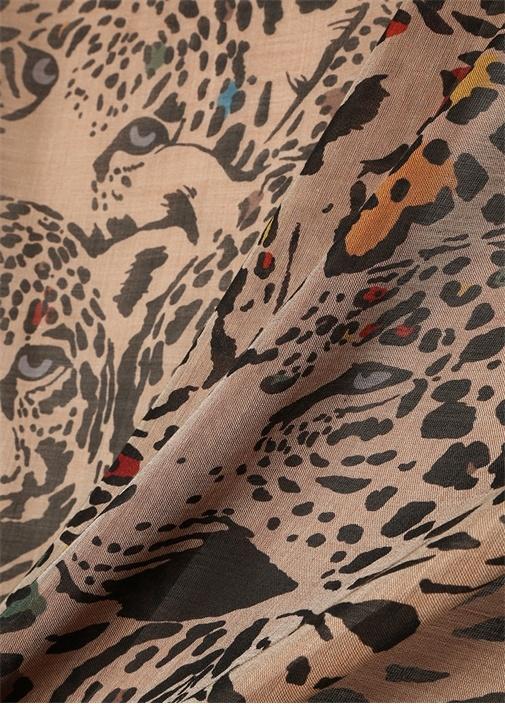 Bej Mavi Leopar Desenli Kadın İpek Şal