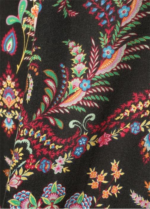 Siyah Çiçek Desenli Kadın Kaşmir Şal