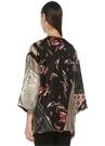 Siyah Çiçek Desenli Yırtmaçlı İpek Ceket