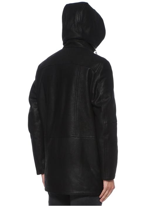 Siyah Kapüşonlu Shearling Detaylı NubukKaban