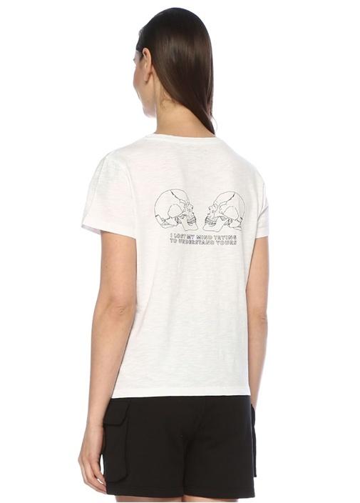Lost My Mind Beyaz Bisiklet Yaka Basic T-shirt