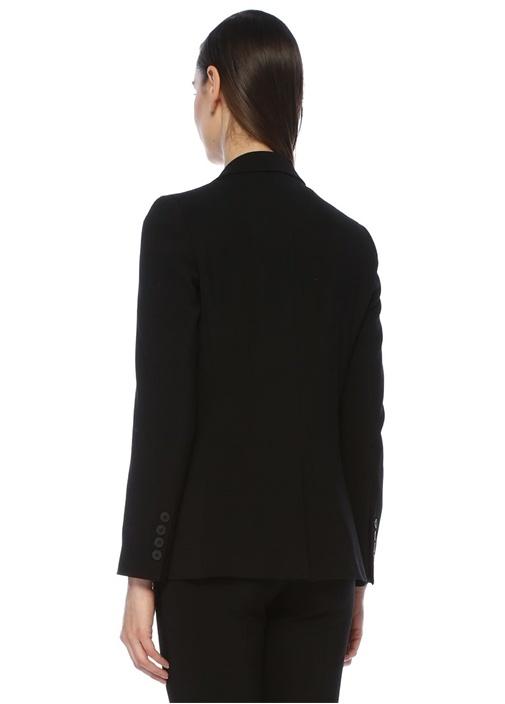 Siyah Kelebek Yaka Tek Düğmeli Klasik Yün Ceket