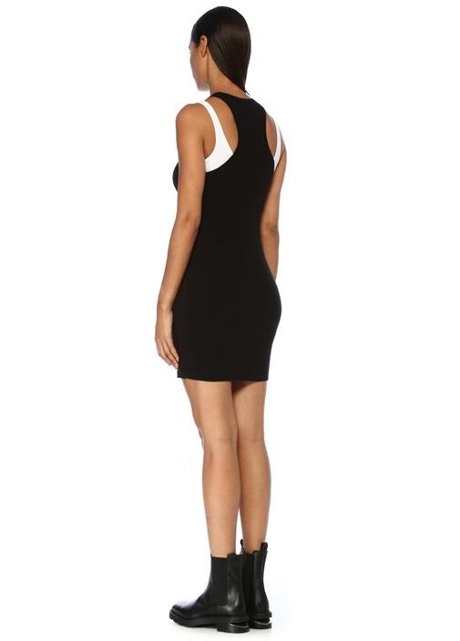 Siyah Beyaz Atlet Detaylı Mini Triko Elbise
