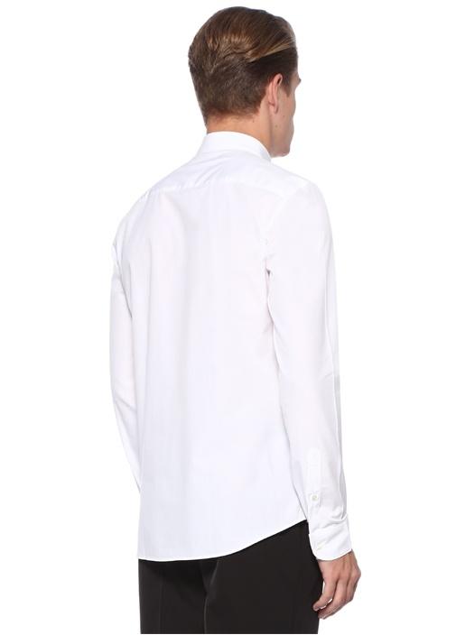 Slim Fit Beyaz Düğmeli Yaka İşlemeli Gömlek