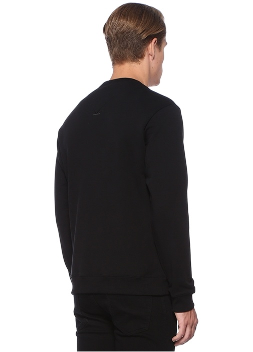 Siyah Renkli Logo Nakışlı Sweatshirt