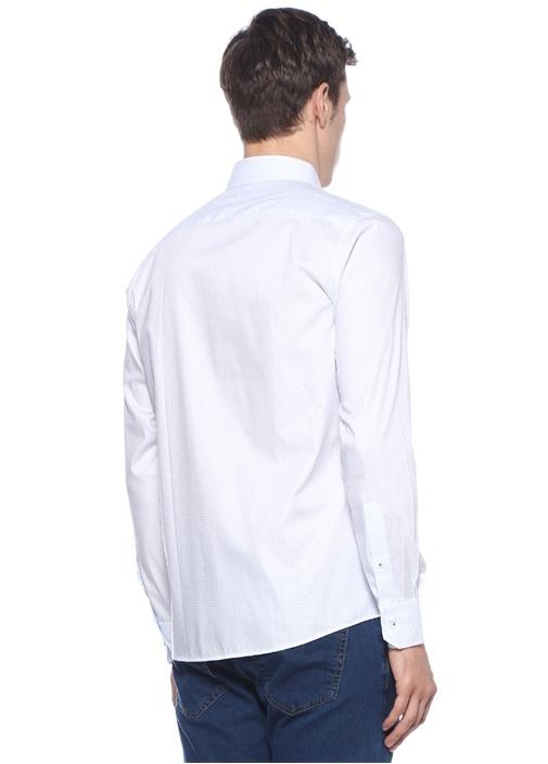 Slim Fit Beyaz Düğmeli Yaka Çiçek Desenli Gömlek