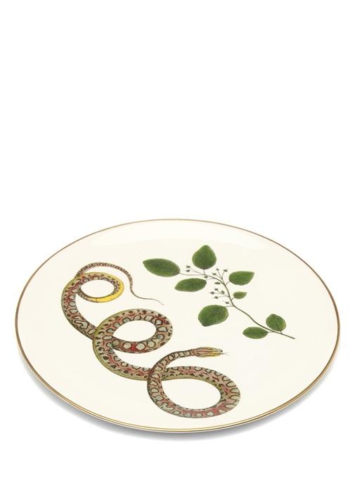 Snakes Beyaz El Yapımı Dekoratif Tabak