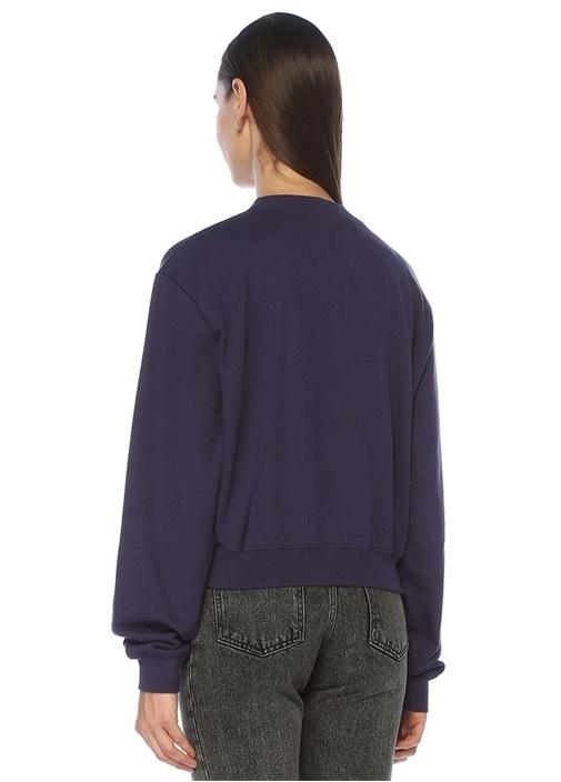 Mavi Shearling Logo Nakışlı Sweatshirt