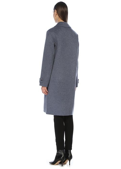 Mavi Kelebek Yaka Yün Palto