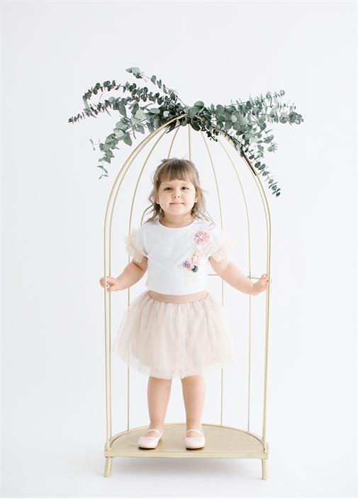 Rosie Flowers 2li Rose Gold Beyaz Kız Çocuk Set