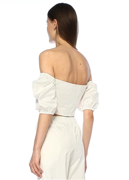 Beyaz Kayık Yaka Büzgülü Bağcıklı Crop Bluz