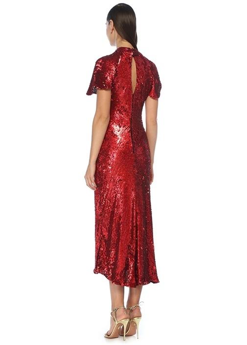 Hanne Kırmızı Payetli Midi Abiye Elbise