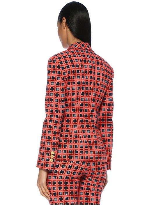 Kırmızı Kelebek Yaka Mikro Desenli Blazer Ceket
