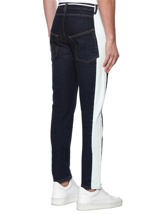 Lacivert Yüksek Bel Şerit Detaylı Jean Pantolon
