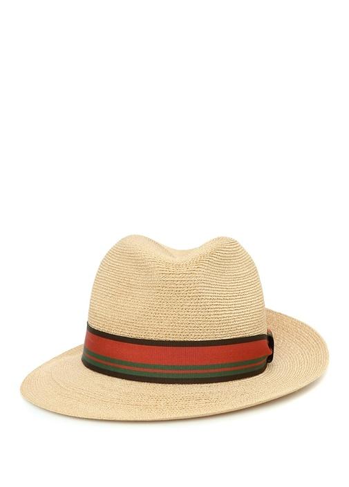 Bej Kemer Detaylı Hasır Dokulu Erkek Şapka