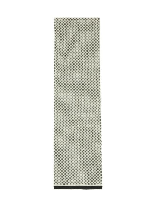 Siyah Ekru Mikro Desenli Erkek Yün Fular