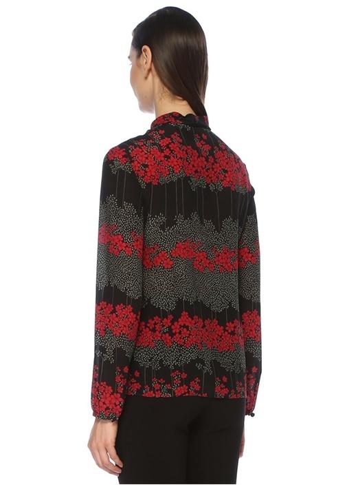 Siyah Yakası Bağcıklı Çiçekli İpek Şifon Bluz