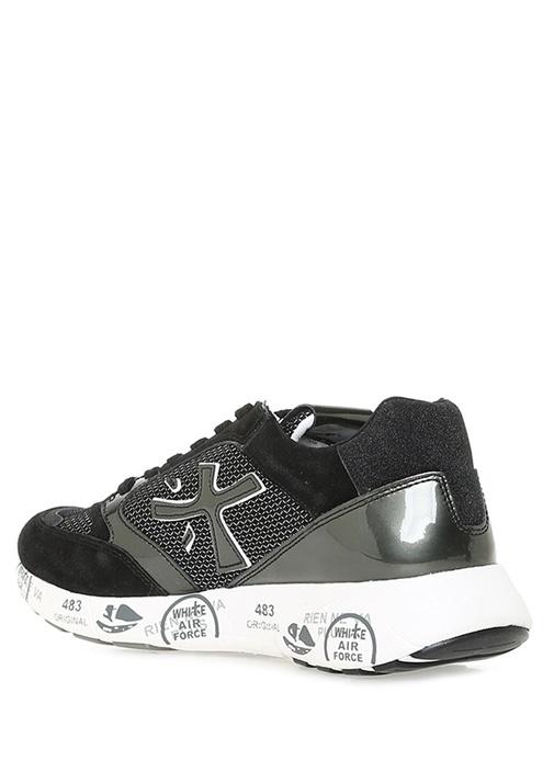 Siyah File Dokulu Taban Detaylı Kadın Yün Sneaker