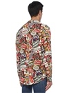 Colorblocked Apaç Yaka Karışık Baskılı Gömlek
