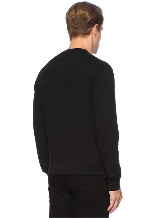 Siyah Kuru Kafa Baskılı Logolu Sweatshirt