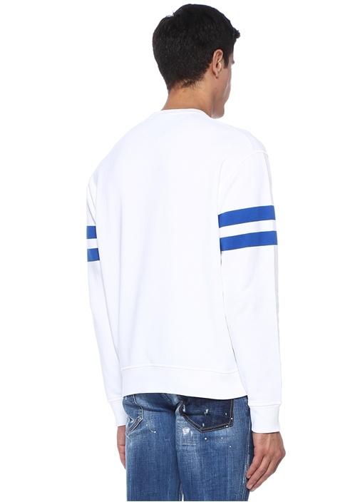 Beyaz Bisiklet Yaka Logo Baskılı Sweatshirt