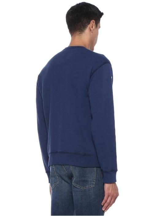 Lacivert Kabartmalı Logolu Sweatshirt