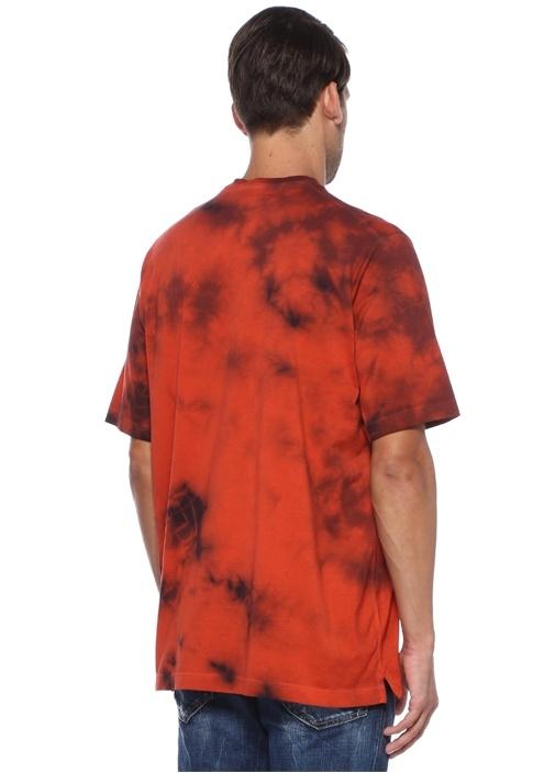 Turuncu Batik Desenli Logolu Basic T-shirt
