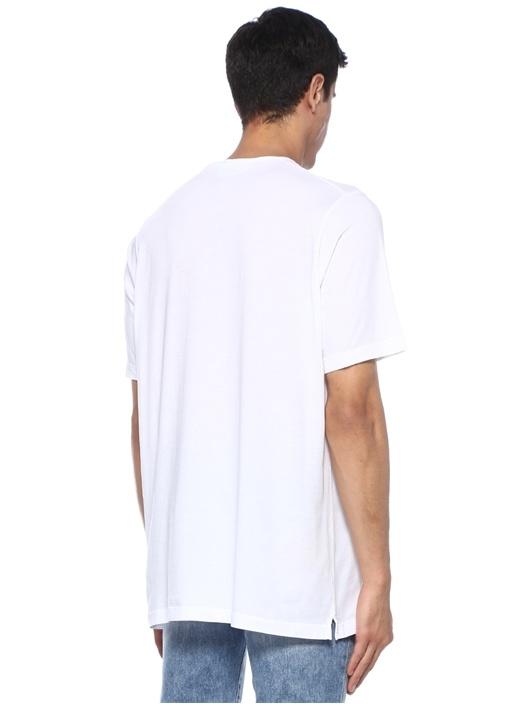 Beyaz Bisiklet Yaka Dağ Baskılı Basic T-shirt