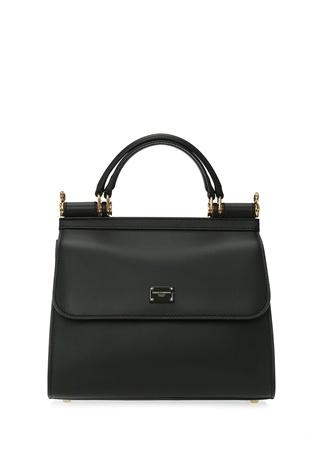 Dolce&Gabbana Kadın Sicily 58 Small Siyah Deri Omuz Çantası EU
