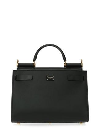Dolce&Gabbana Kadın Sicily 62 Small Siyah Deri Omuz Çantası EU