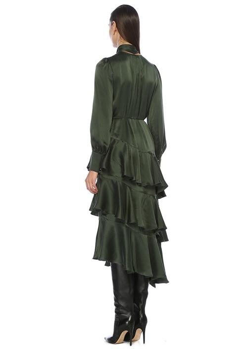 Yeşil Asimetrik Volanlı Midi İpek Elbise