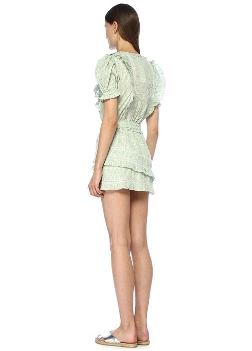 Sutton Yeşil V Yaka Çiçekli Fırfırlı Mini Elbise