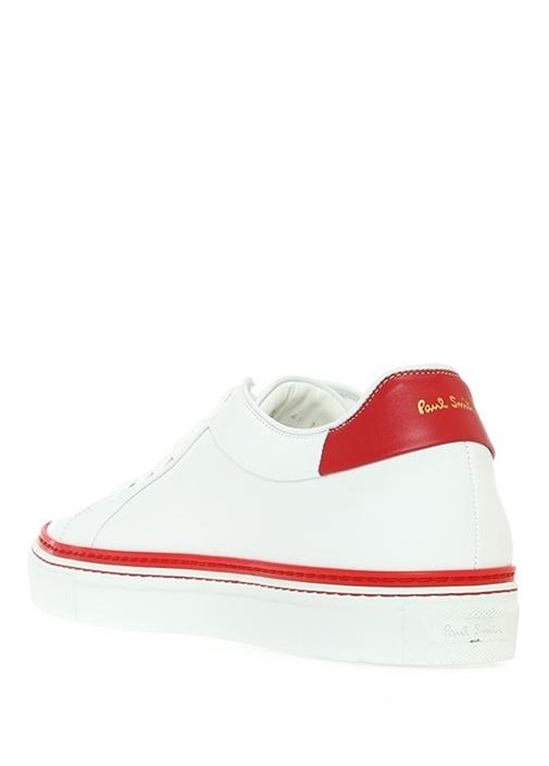 Beyaz Kırmızı Erkek Deri Sneaker