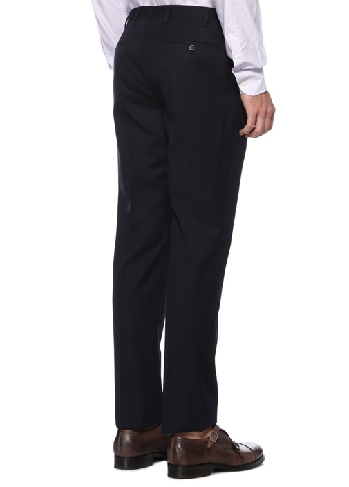 Drop 7 Lacivert Normal Bel Boru Paça Yün Pantolon