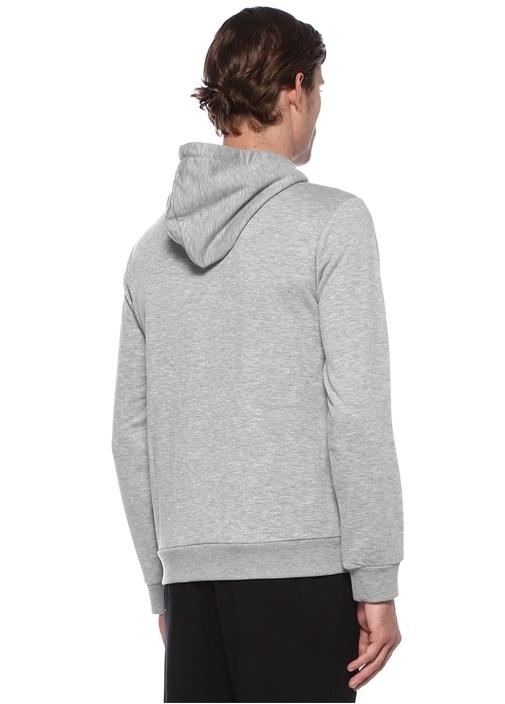 Gri Melanj Kapüşonlu Logo İşlemeli Sweatshirt