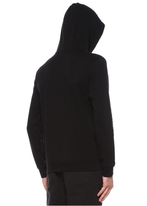 Siyah Kapüşonlu Logo İşlemeli Sweatshirt